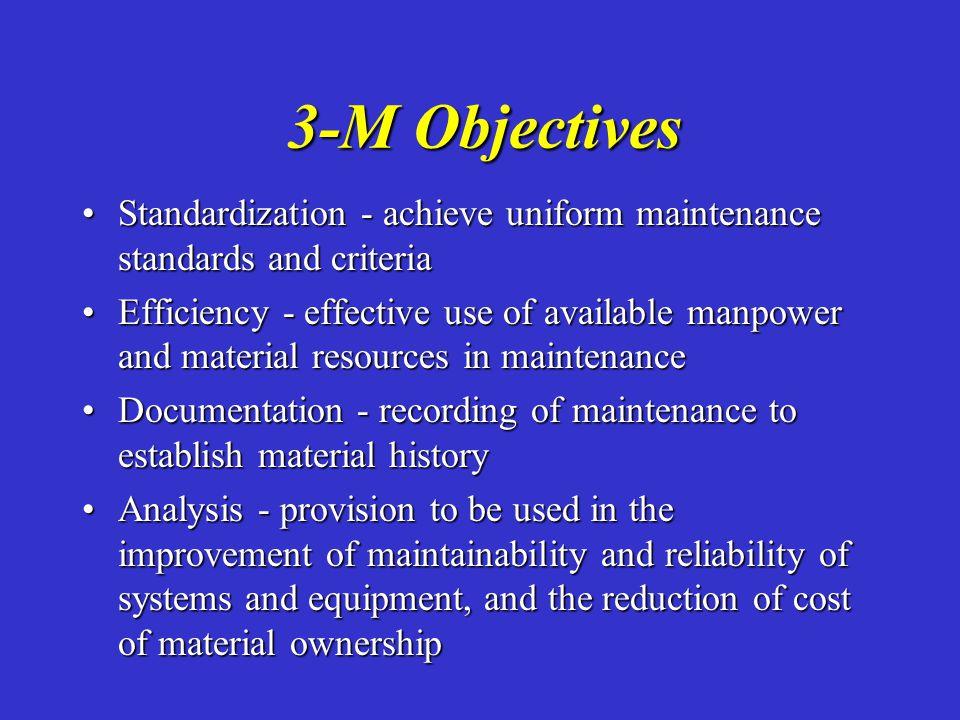 3-M Objectives Standardization - achieve uniform maintenance standards and criteriaStandardization - achieve uniform maintenance standards and criteri