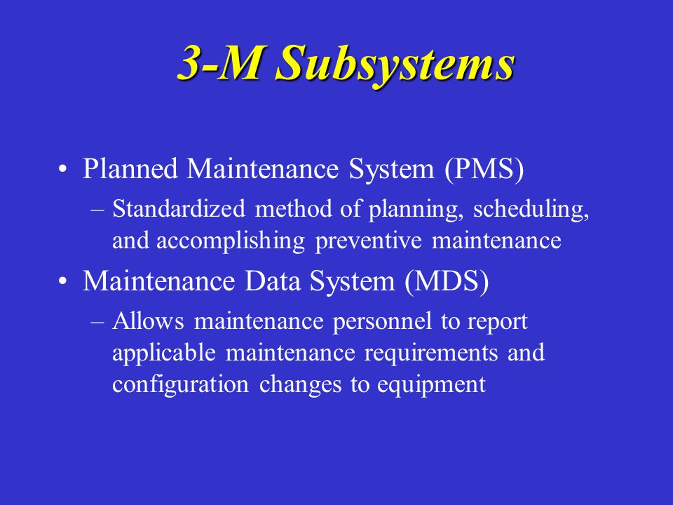 PMS Terms PMS Terms Preventive maintenance – –actions intended to prevent or discover functional failure (ie changing oil / filters, cleaning components) Corrective maintenance – –actions taken to fix equipment that has failed or is working below standards
