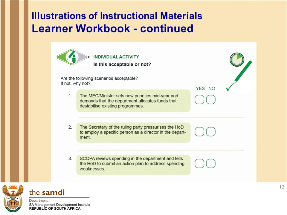 12 Illustrations of Instructional Materials Learner Workbook - continued