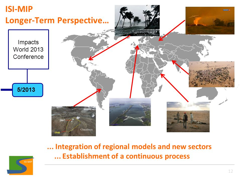 ISI-MIP Longer-Term Perspective… 12... Integration of regional models and new sectors...