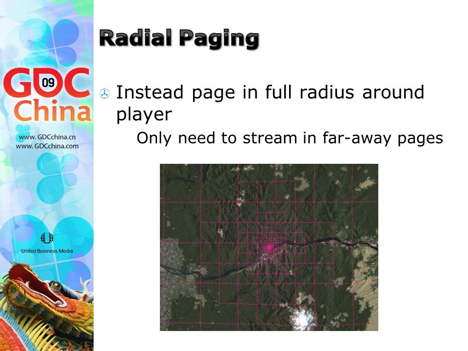  Instead page in full radius around player  Only need to stream in far-away pages