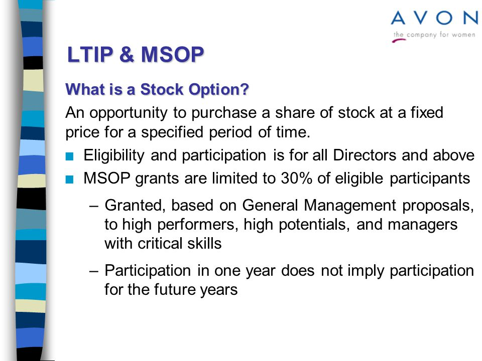 LTIP & MSOP What is a Stock Option.