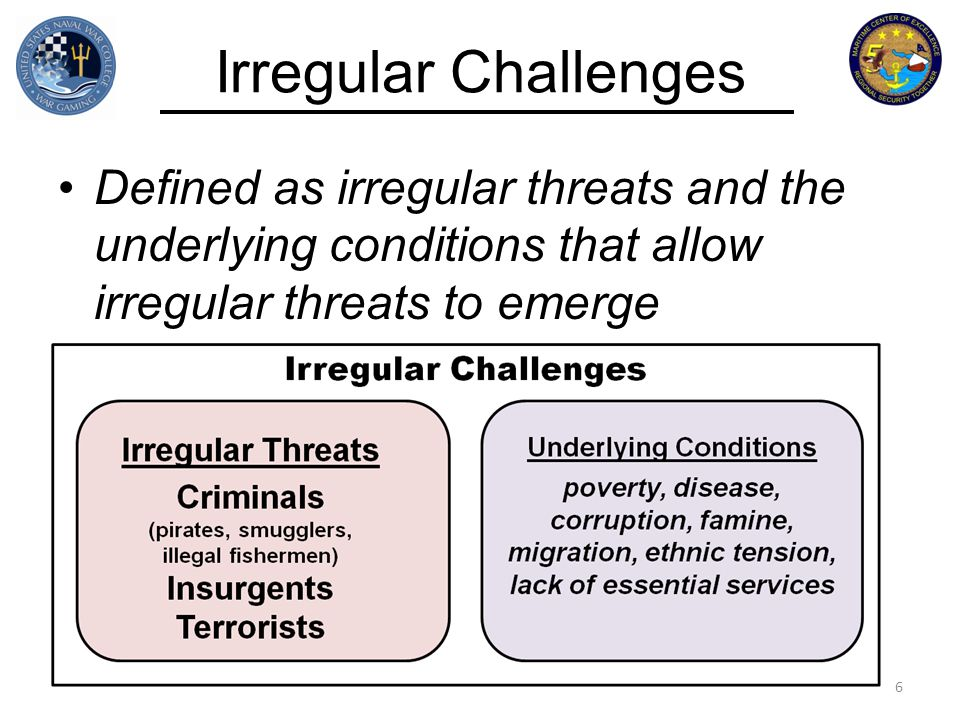 Irregular Challenges Defined as irregular threats and the underlying conditions that allow irregular threats to emerge 6