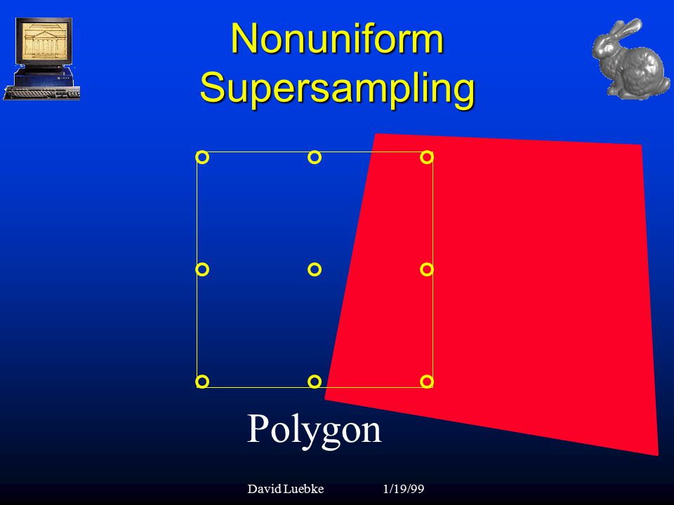 David Luebke1/19/99 Nonuniform Supersampling Polygon