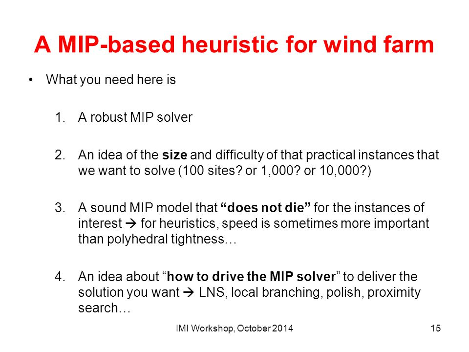 A MIP-based heuristic for wind farm What you need here is 1.A robust MIP solver 2.An idea of the size and difficulty of that practical instances that