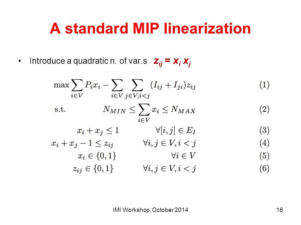 A standard MIP linearization Introduce a quadratic n. of var.s z ij = x i x j IMI Workshop, October 201416