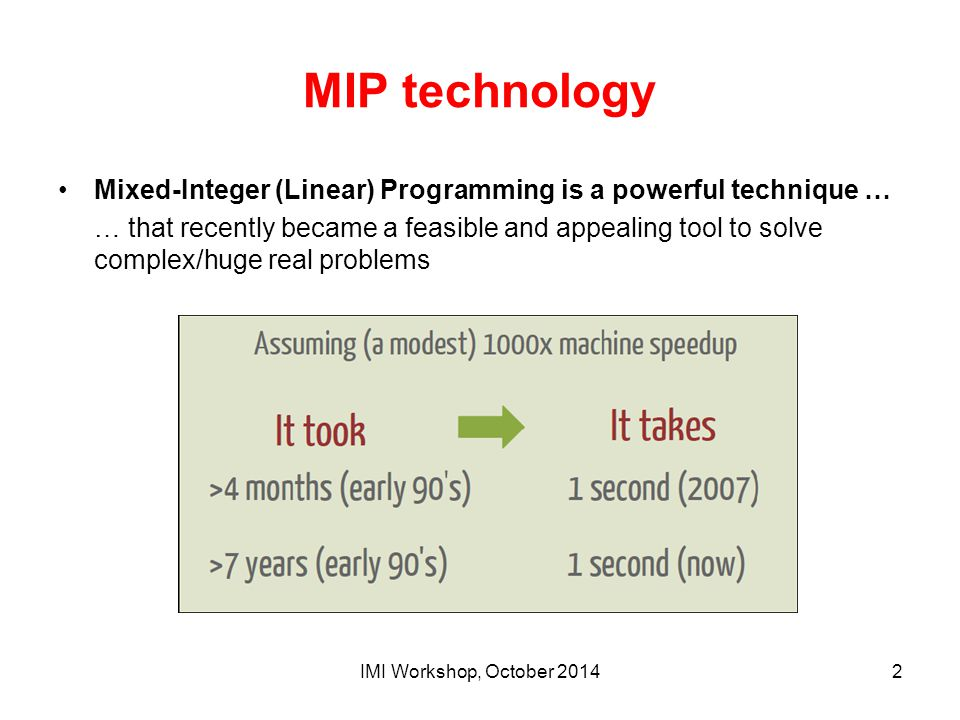 MIP technology Mixed-Integer (Linear) Programming is a powerful technique … … that recently became a feasible and appealing tool to solve complex/huge