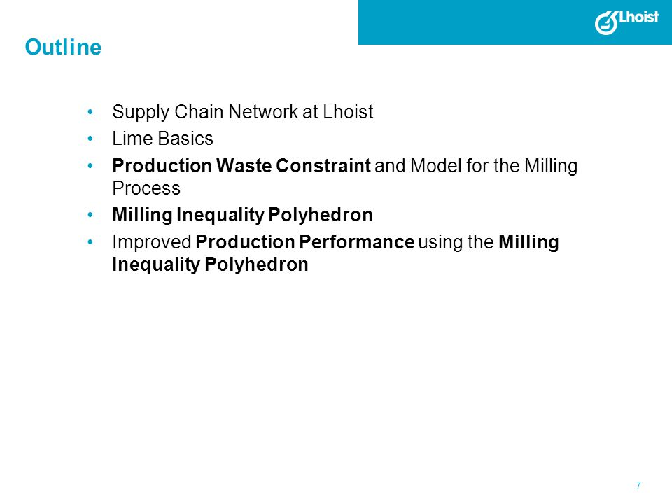 7 Outline Supply Chain Network at Lhoist Lime Basics Production Waste Constraint and Model for the Milling Process Milling Inequality Polyhedron Impro