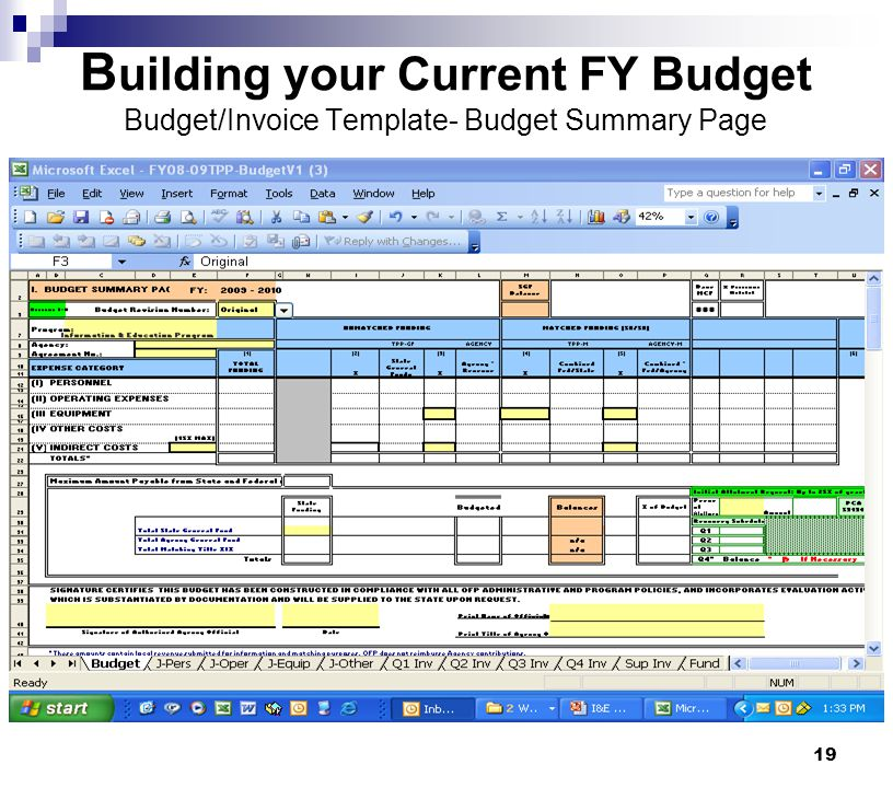 19 B uilding your Current FY Budget Budget/Invoice Template- Budget Summary Page