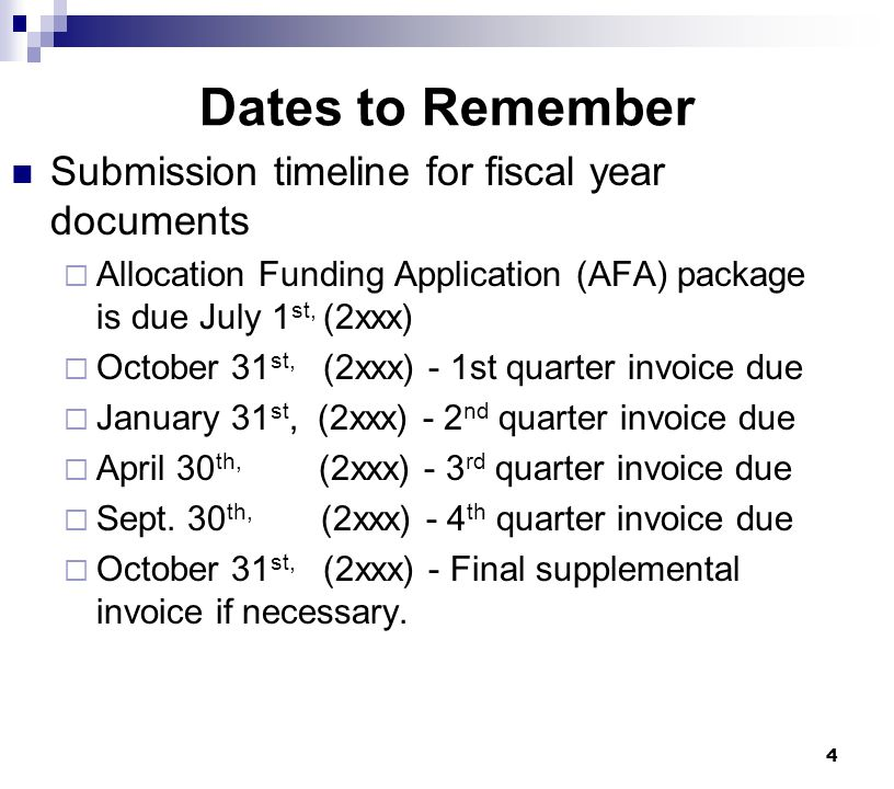 4 Dates to Remember Submission timeline for fiscal year documents  Allocation Funding Application (AFA) package is due July 1 st, (2xxx)  October 31