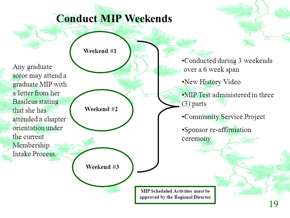 Conduct MIP Weekends Weekend #1 Weekend #2 Weekend #3 Conducted during 3 weekends over a 6 week span New History Video MIP Test administered in three