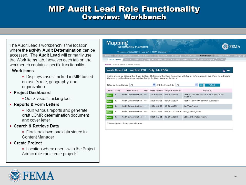 The Work Item List will display all projects associated with the Audit Lead's role, geography, and organization.