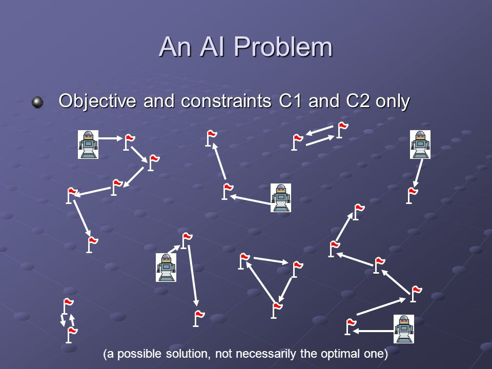 An AI Problem Objective and constraints C1 and C2 only (a possible solution, not necessarily the optimal one)