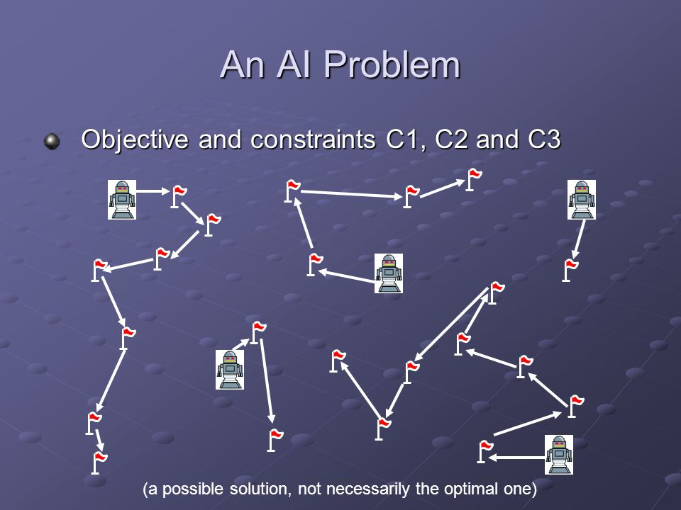 An AI Problem Objective and constraints C1, C2 and C3 (a possible solution, not necessarily the optimal one)