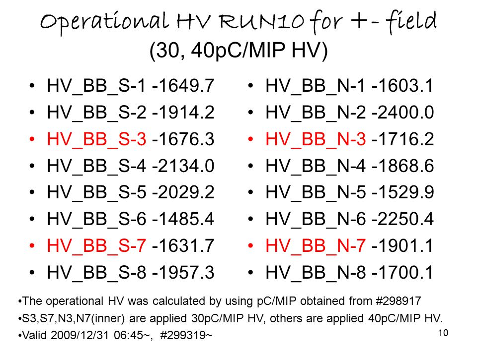 10 Operational HV RUN10 for +- field (30, 40pC/MIP HV) HV_BB_S-1 -1649.7 HV_BB_S-2 -1914.2 HV_BB_S-3 -1676.3 HV_BB_S-4 -2134.0 HV_BB_S-5 -2029.2 HV_BB_S-6 -1485.4 HV_BB_S-7 -1631.7 HV_BB_S-8 -1957.3 HV_BB_N-1 -1603.1 HV_BB_N-2 -2400.0 HV_BB_N-3 -1716.2 HV_BB_N-4 -1868.6 HV_BB_N-5 -1529.9 HV_BB_N-6 -2250.4 HV_BB_N-7 -1901.1 HV_BB_N-8 -1700.1 The operational HV was calculated by using pC/MIP obtained from #298917 S3,S7,N3,N7(inner) are applied 30pC/MIP HV, others are applied 40pC/MIP HV.