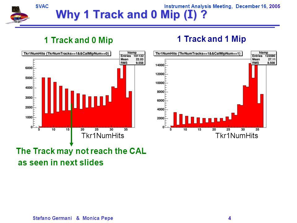 SVACInstrument Analysis Meeting, December 16, 2005 Stefano Germani & Monica Pepe 5 Why 1 Track and 0 Mip (II) .