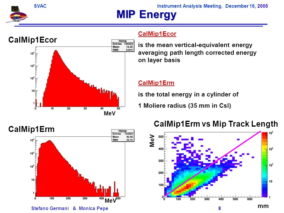 SVACInstrument Analysis Meeting, December 16, 2005 Stefano Germani & Monica Pepe 8 MIP Energy CalMip1Ecor MeV CalMip1Erm CalMip1Erm vs Mip Track Length mm MeV CalMip1Ecor is the mean vertical-equivalent energy averaging path length corrected energy on layer basis CalMip1Erm is the total energy in a cylinder of 1 Moliere radius (35 mm in CsI)