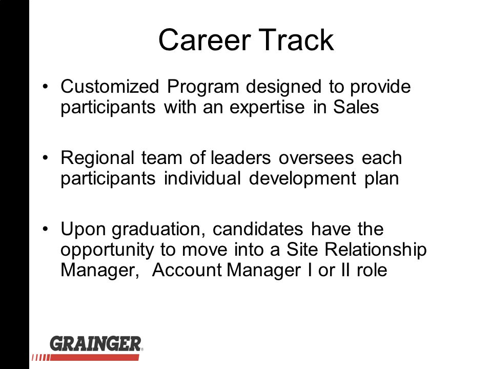 Career Track Customized Program designed to provide participants with an expertise in Sales Regional team of leaders oversees each participants individual development plan Upon graduation, candidates have the opportunity to move into a Site Relationship Manager, Account Manager I or II role