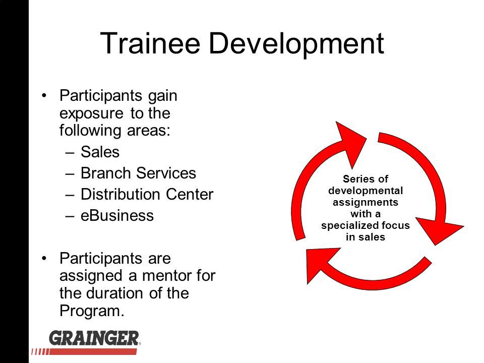 Trainee Development Participants gain exposure to the following areas: –Sales –Branch Services –Distribution Center –eBusiness Participants are assign