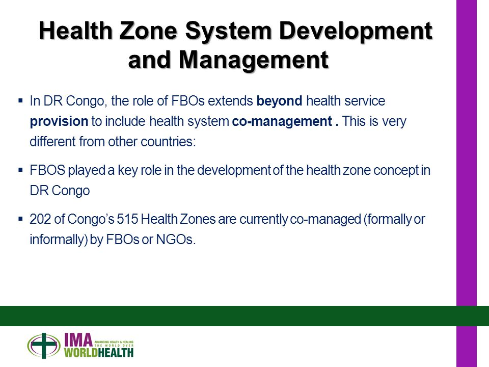  In DR Congo, the role of FBOs extends beyond health service provision to include health system co-management.