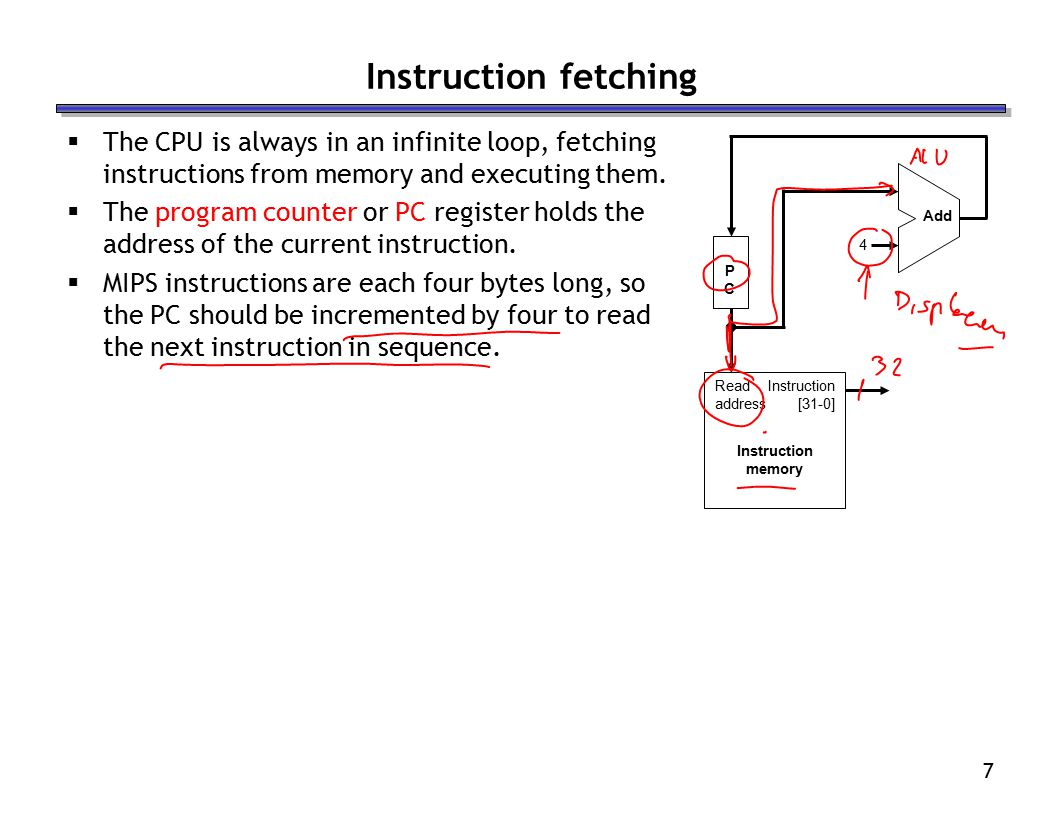 7 Instruction fetching  The CPU is always in an infinite loop, fetching instructions from memory and executing them.