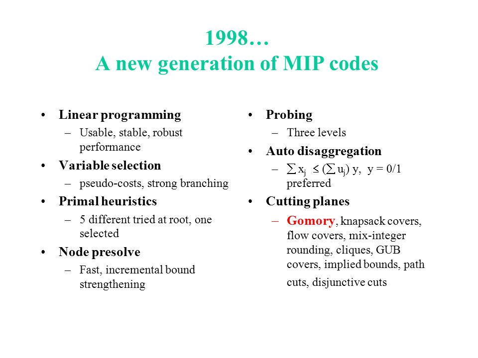 1998… A new generation of MIP codes Linear programming –Usable, stable, robust performance Variable selection –pseudo-costs, strong branching Primal heuristics –5 different tried at root, one selected Node presolve –Fast, incremental bound strengthening Probing –Three levels Auto disaggregation –  x j  (  u j ) y, y = 0/1 preferred Cutting planes –Gomory, knapsack covers, flow covers, mix-integer rounding, cliques, GUB covers, implied bounds, path cuts, disjunctive cuts