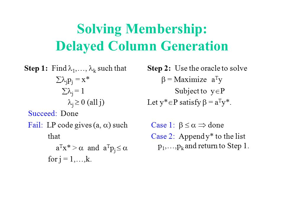 Solving Membership: Delayed Column Generation Step 1: Find 1,…, k such that  j p j = x*  j = 1 j  0 (all j) Succeed: Done Fail: LP code gives (a,  ) such that a T x* >  and a T p j   for j = 1,…,k.