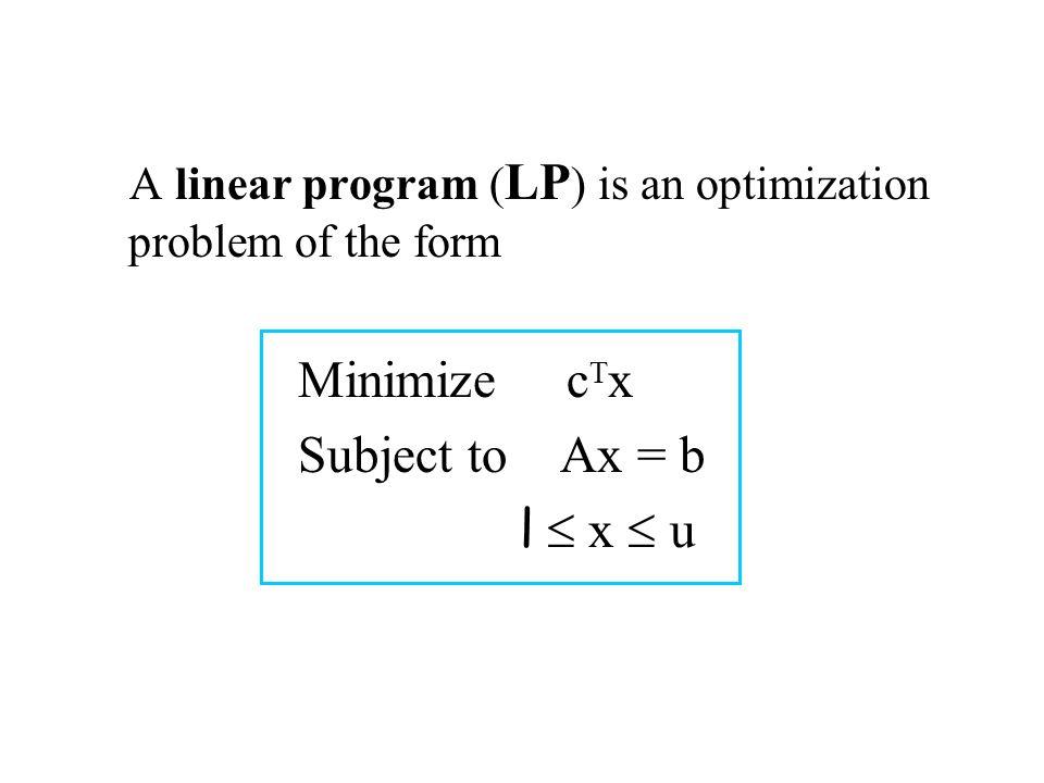 A linear program ( LP ) is an optimization problem of the form Minimize c T x Subject to Ax = b l  x  u