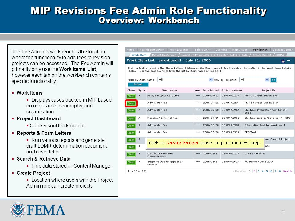 The Fee Admin's workbench is the location where the functionality to add fees to revision projects can be accessed.