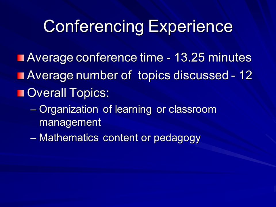 Conferencing Experience Average conference time - 13.25 minutes Average number of topics discussed - 12 Overall Topics: –Organization of learning or classroom management –Mathematics content or pedagogy