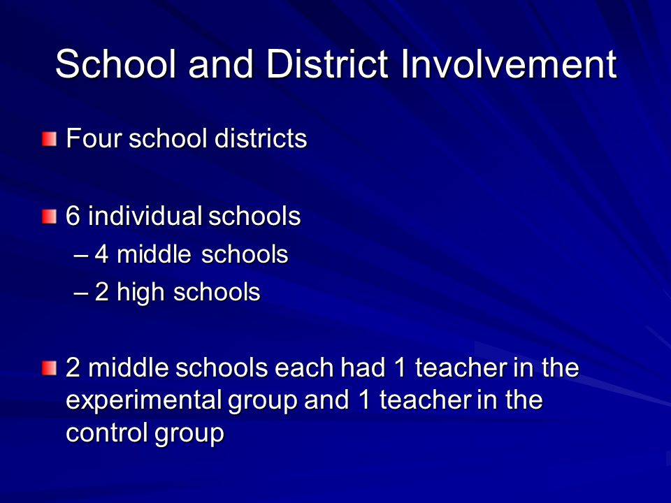 School and District Involvement Four school districts 6 individual schools –4 middle schools –2 high schools 2 middle schools each had 1 teacher in th