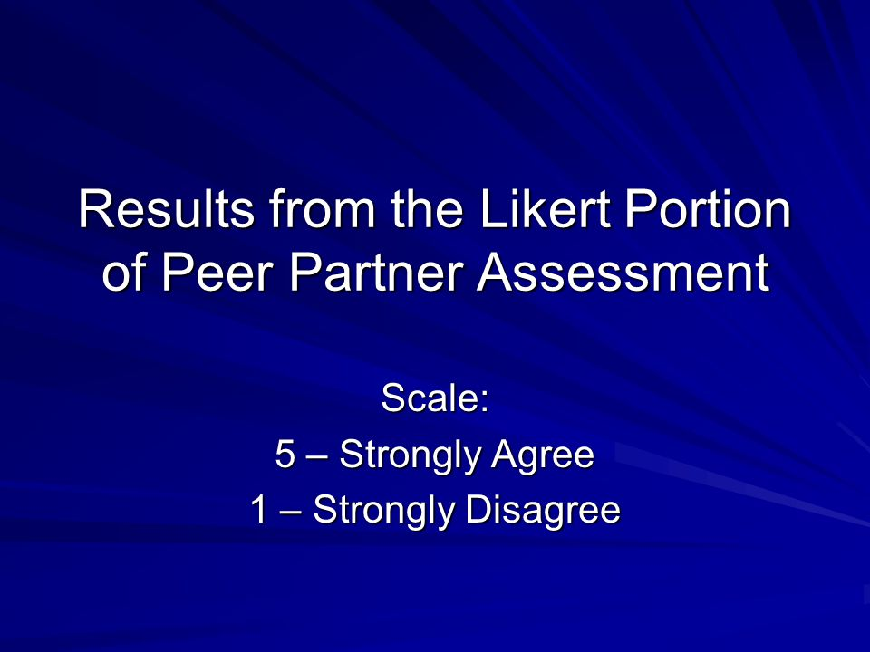 Results from the Likert Portion of Peer Partner Assessment Scale: 5 – Strongly Agree 1 – Strongly Disagree