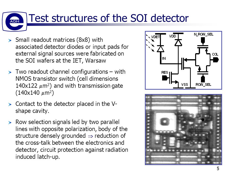 5 Test structures of the SOI detector Small readout matrices (8x8) with associated detector diodes or input pads for external signal sources were fabricated on the SOI wafers at the IET, Warsaw Two readout channel configurations – with NMOS transistor switch (cell dimensions 140x122  m 2 ) and with transmission gate (140x140  m 2 ) Contact to the detector placed in the V- shape cavity.