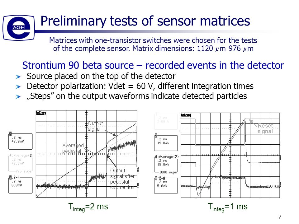 "7 Preliminary tests of sensor matrices T integ =2 msT integ =1 ms Strontium 90 beta source – recorded events in the detector Source placed on the top of the detector Detector polarization: Vdet = 60 V, different integration times ""Steps on the output waveforms indicate detected particles Matrices with one-transistor switches were chosen for the tests of the complete sensor."