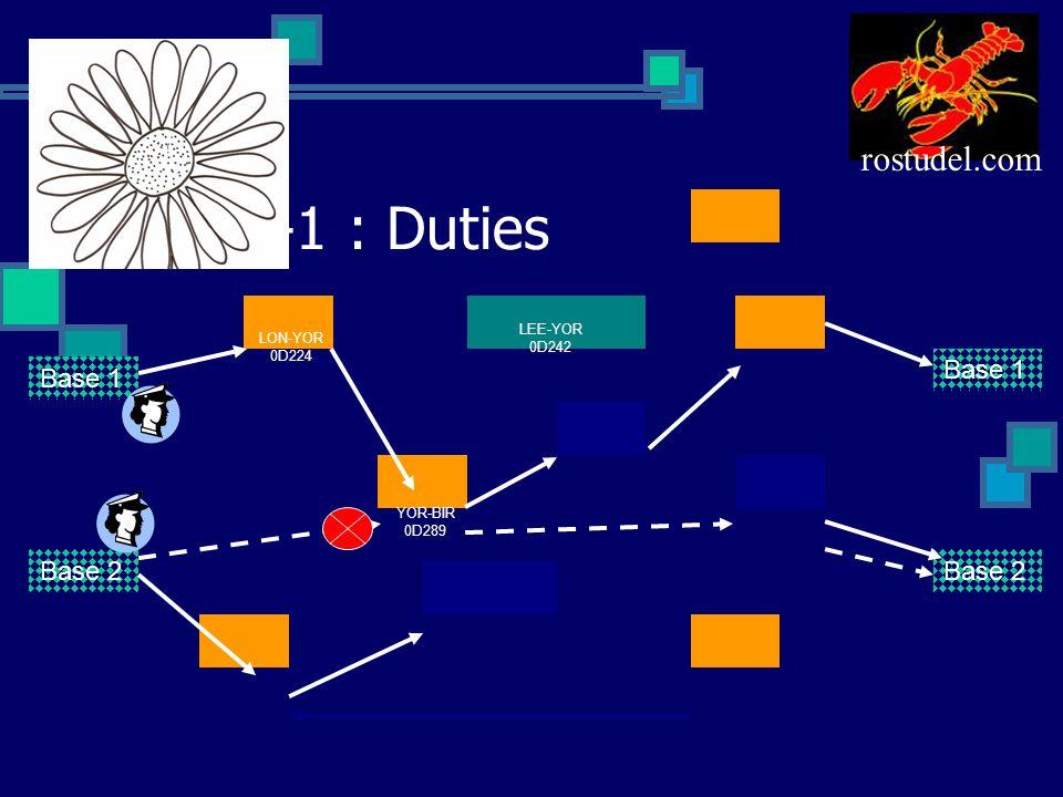 VRO-1 : Duties Base 1 Base 2 Base 1 Base 2 LON-YOR 0D224 LEE-YOR 0D242 YOR-BIR 0D289 rostudel.com