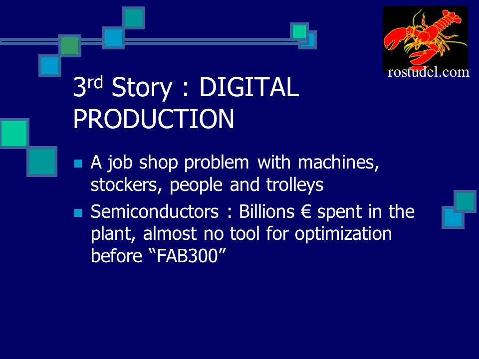 3 rd Story : DIGITAL PRODUCTION A job shop problem with machines, stockers, people and trolleys Semiconductors : Billions € spent in the plant, almost no tool for optimization before FAB300 rostudel.com