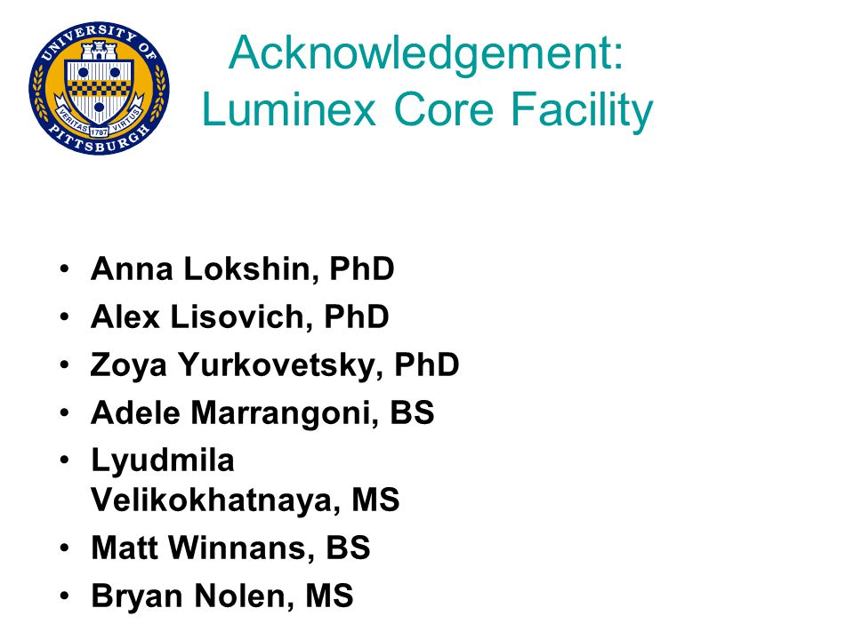 Acknowledgement: Luminex Core Facility Anna Lokshin, PhD Alex Lisovich, PhD Zoya Yurkovetsky, PhD Adele Marrangoni, BS Lyudmila Velikokhatnaya, MS Matt Winnans, BS Bryan Nolen, MS