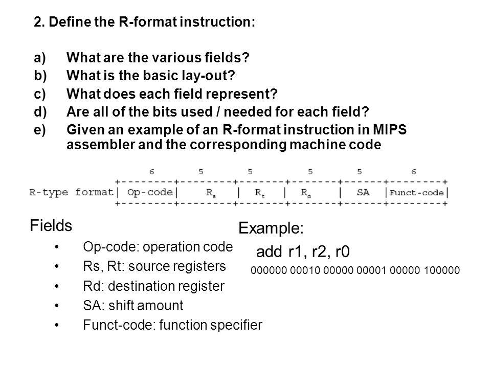 Fields Op-code: operation code Rs: source register Rt: destination register Immediate: 2's complement constant 3.