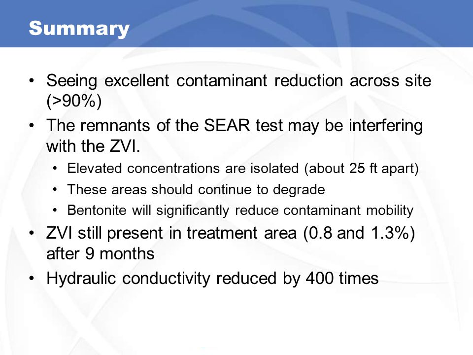 Summary Seeing excellent contaminant reduction across site (>90%) The remnants of the SEAR test may be interfering with the ZVI. Elevated concentratio