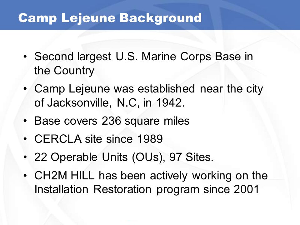 Camp Lejeune Background Second largest U.S. Marine Corps Base in the Country Camp Lejeune was established near the city of Jacksonville, N.C, in 1942.