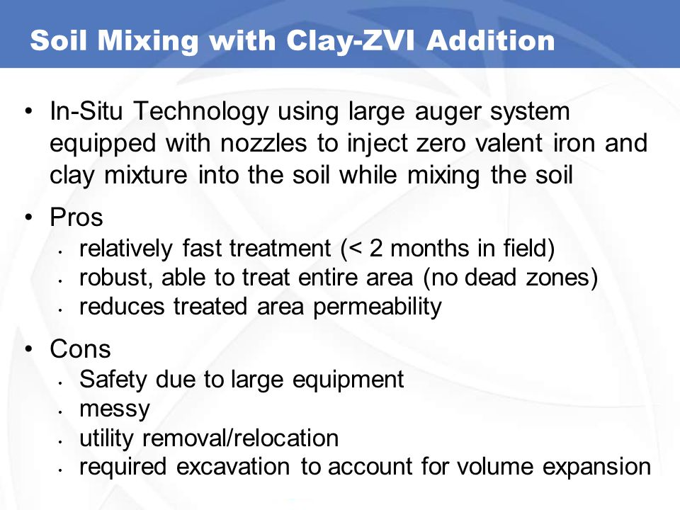 Soil Mixing with Clay-ZVI Addition In-Situ Technology using large auger system equipped with nozzles to inject zero valent iron and clay mixture into