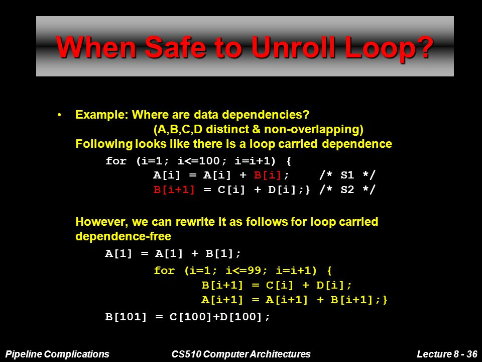 Pipeline ComplicationsCS510 Computer ArchitecturesLecture 8 - 36 When Safe to Unroll Loop.