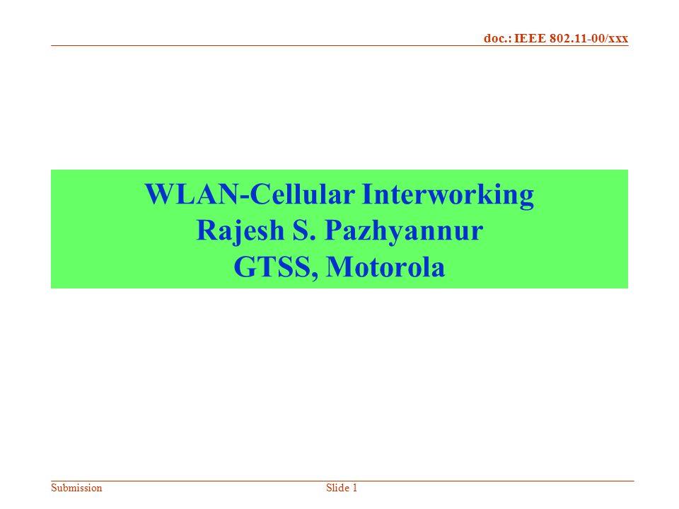 doc.: IEEE 802.11-00/xxx SubmissionNovember 21, 2002Slide 2 Contributors Chad Fors Nat Natarajan Johanna Wild All from GTSS, Motorola Contact Address Rajesh S.