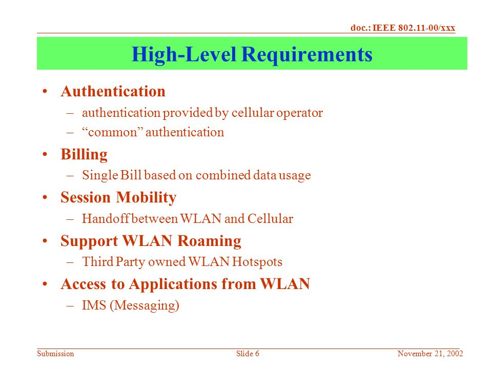 doc.: IEEE 802.11-00/xxx SubmissionNovember 21, 2002Slide 7 Architectural Approaches