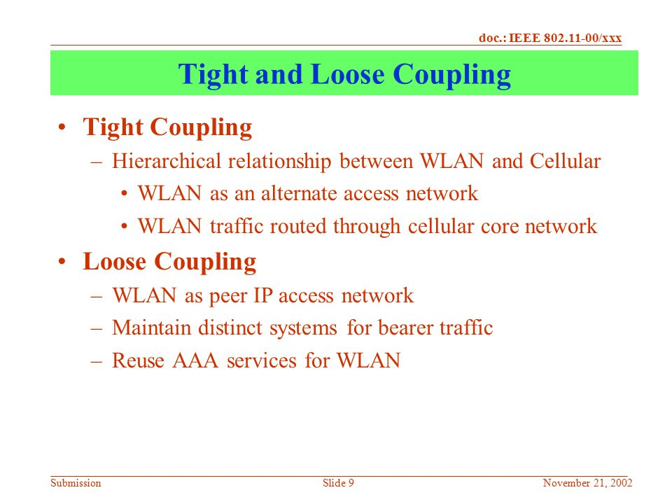 doc.: IEEE 802.11-00/xxx SubmissionNovember 21, 2002Slide 30 Interaction between VPN and MIP VPN Clients intolerant of changes in Route Table –Any Change in route table usually resets the VPN –Force VPN Re-authentication Assume VPN over MIP –MIP running on top of WLAN –Move out of WLAN coverage into Cellular –Acquire IP address from Cellular.