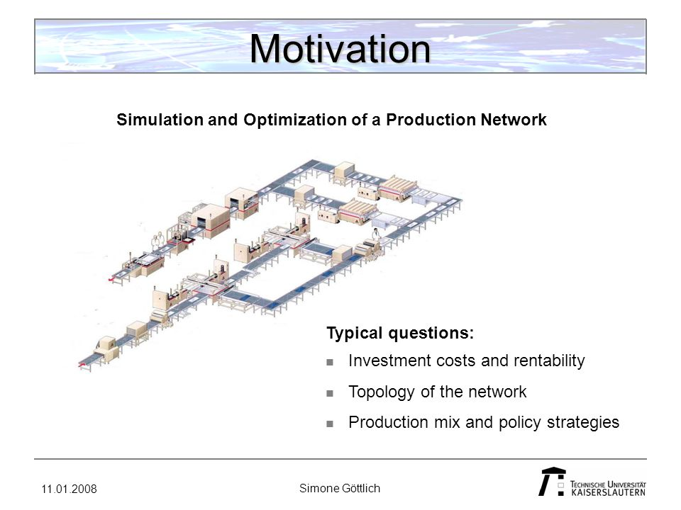 11.01.2008 Simone Göttlich Network - Model ExistenceExtensions Optimization ContinuousDiscrete Modeling