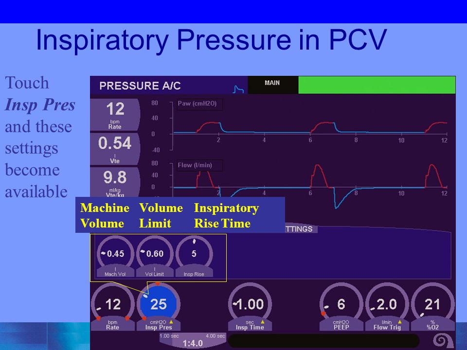 Inspiratory Pressure in PCV Touch Insp Pres and these settings become available Machine Volume Volume Limit Inspiratory Rise Time