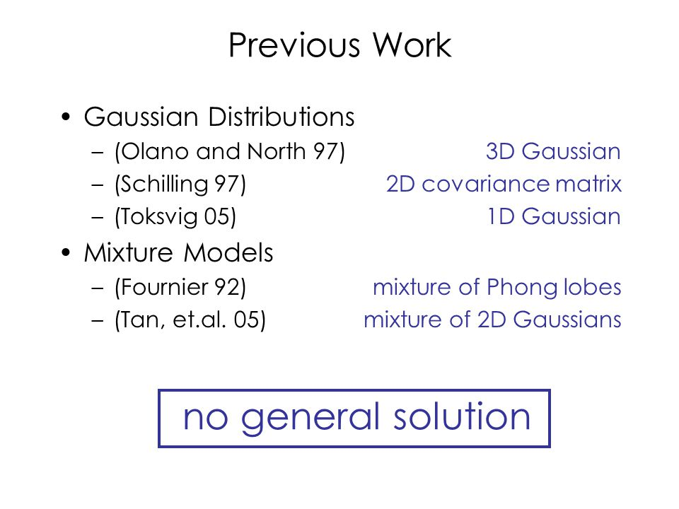 Previous Work Gaussian Distributions –(Olano and North 97) –(Schilling 97) –(Toksvig 05) Mixture Models –(Fournier 92) –(Tan, et.al.