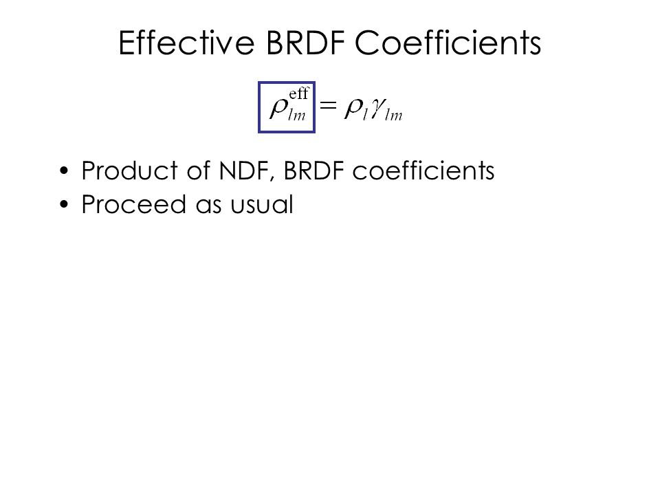 Effective BRDF Coefficients Product of NDF, BRDF coefficients Proceed as usual