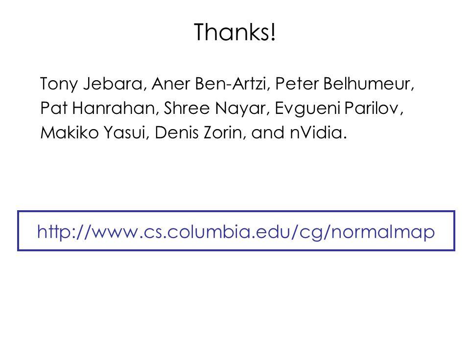 Thanks! Tony Jebara, Aner Ben-Artzi, Peter Belhumeur, Pat Hanrahan, Shree Nayar, Evgueni Parilov, Makiko Yasui, Denis Zorin, and nVidia. http://www.cs